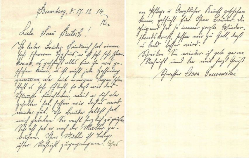A letter from Bromberg: Friedrich very ill with typhus