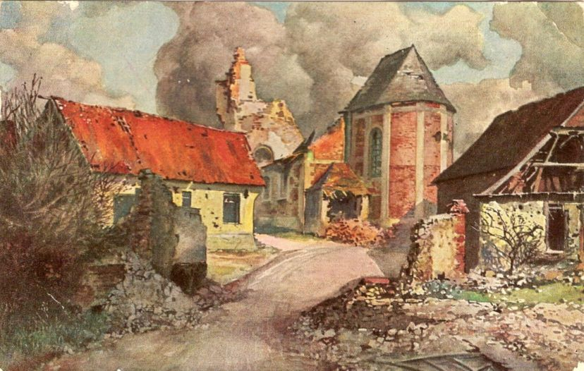 Hendecourt/Somme, painting on German war picture-postcard